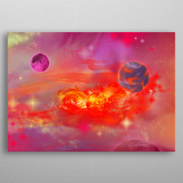 Journey through space and new galaxies metal poster