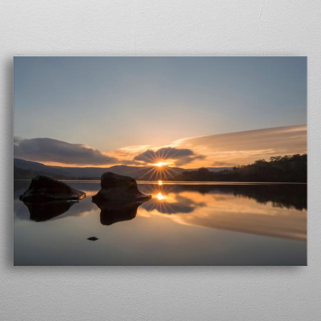 A November sunset over Semmer Water, Wensleydale, North Yorkshire metal poster