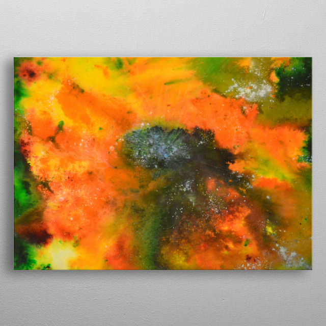 Sunflowers abstract artwork in watercolour powders and ink and coated in resin, original painting on wood. metal poster