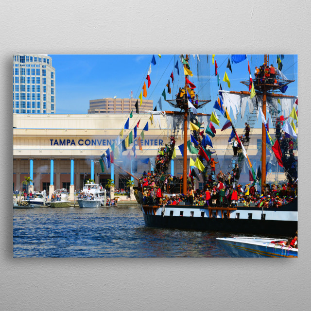 Photography of the Tampa Convention Center and the infamous pirate ship Jose Gasparilla. metal poster