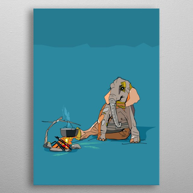 A digital drawing of an elephant camping and sitting by the fire. Suitable as a quirky present or for in a kid's bedroom. metal poster