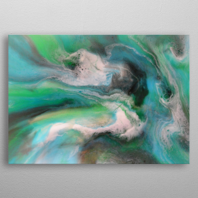 Inside the Wave is the first of 2 original artworks with a swirling sea painting in ink and resin metal poster