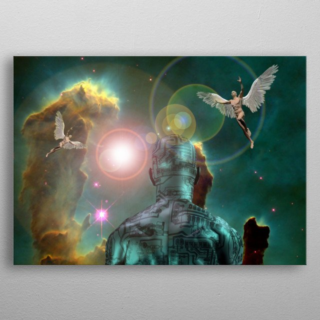 Man with electric circuit pattern on his skin stands before nebula in deep space. Another men with wings represents angels. Vivid universe metal poster