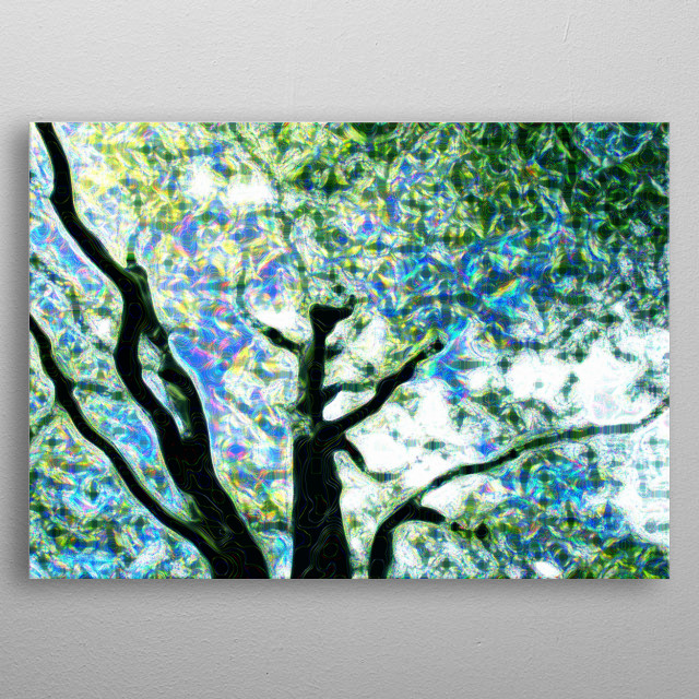 Sparkle Tree is a digitally manipulated artwork from a photo.  metal poster