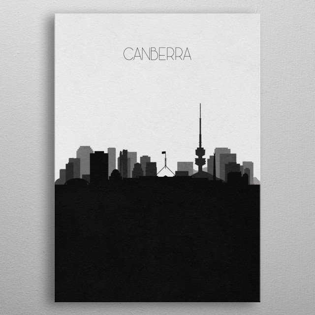 Black & white skyline illustration of Canberra, Australia. This minimalist design features touristic landmarks and buildings of the city. metal poster