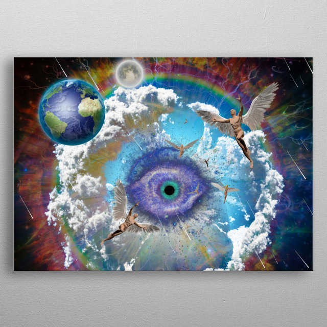 Planet Earth and moon in vivid galaxy. Winged men represents angels. metal poster