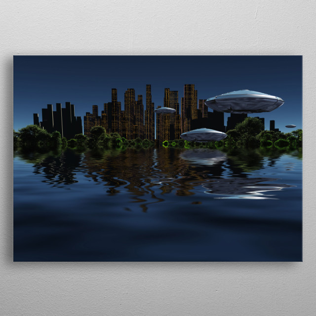 Exosolar water world planet. Future city surrounded by green forest in the ocean. Spacecrafts in the sky metal poster