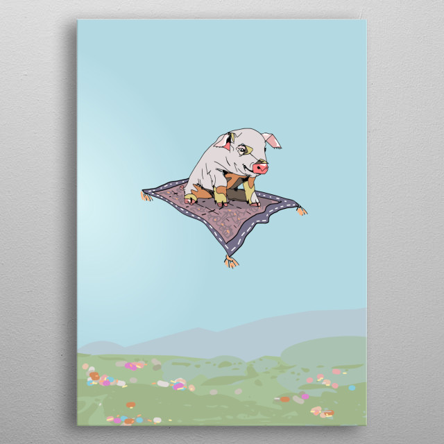A digital drawing of a pig flying on a carpet. Suitable as a quirky gift or for a kid's room. metal poster