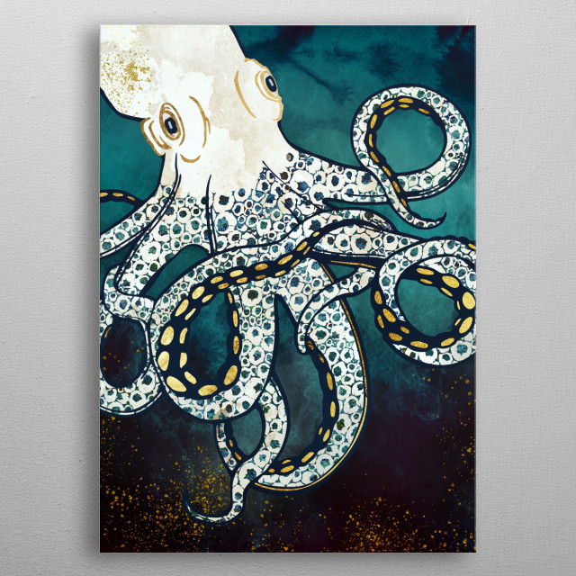 Abstract depiction of an octopus underwater with blue, gold and white metal poster