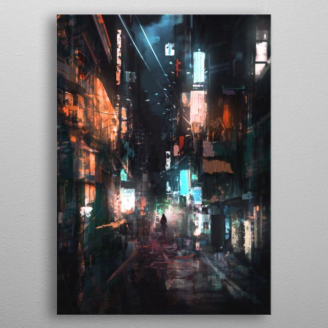 scifi, digital, concept art, game art, post-apocalyptic, apocalypse, landscape, environment, fantasy, mecha, sunset, morning, night, evening metal poster