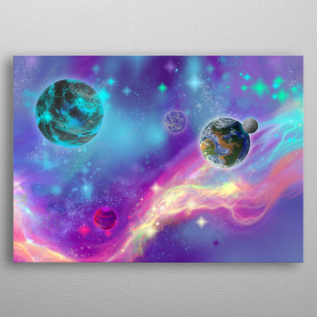 I invite you to a magical journey through the Mermaid Nebula metal poster
