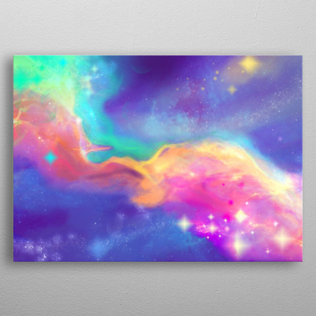 A wonderful journey through the colorful Mermaid Nebula metal poster