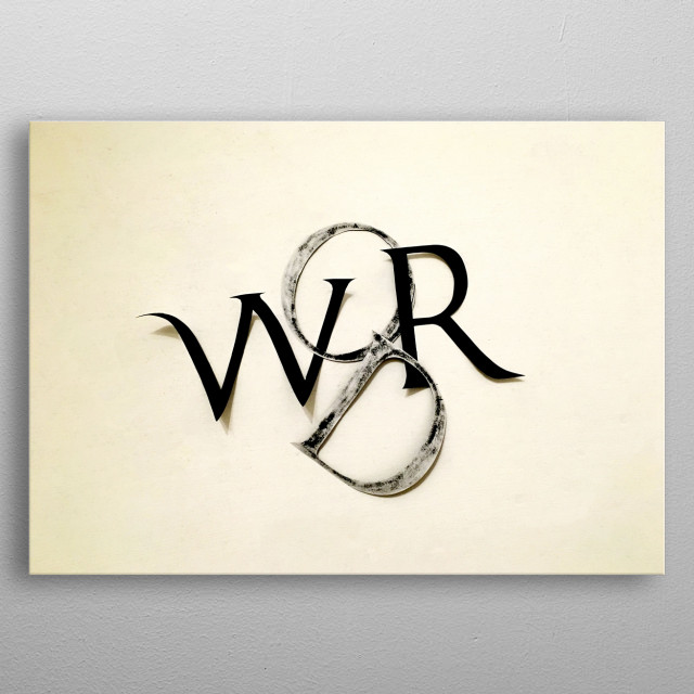 """A collage of carved roman letters displays the word """"WORD"""" in black and white. metal poster"""
