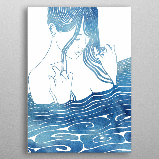 A mythological nereid. One of the daughters of the Nereus, the Old Man of the Sea. metal poster