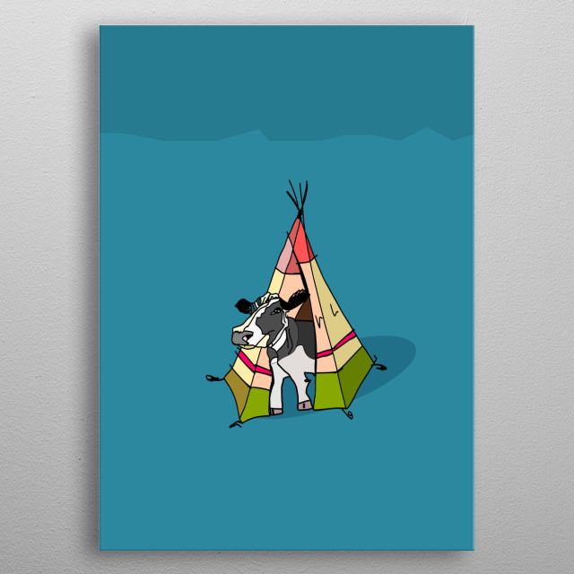 A digital drawing of a cow in a tent, suitable as a quirky gift or in kid's room metal poster