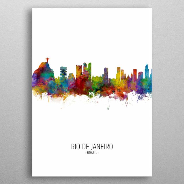 Watercolor art print of the skyline of Rio de Janeiro, Brazil metal poster