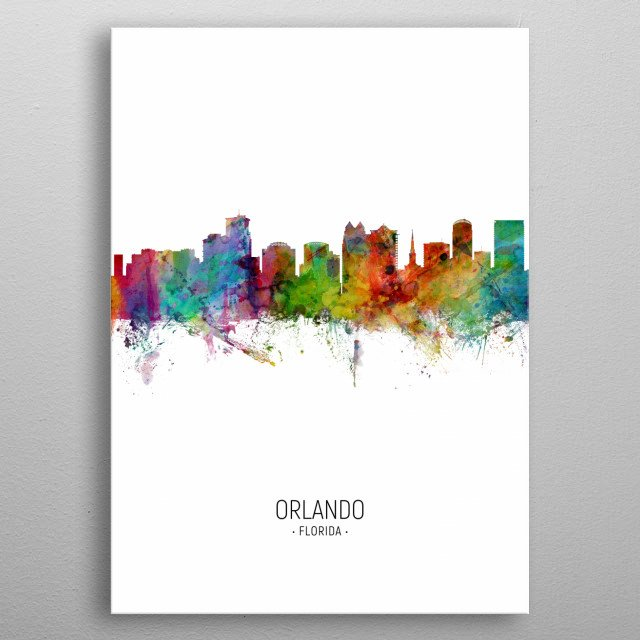 Watercolor art print of the skyline of Orlando, Florida, United States metal poster