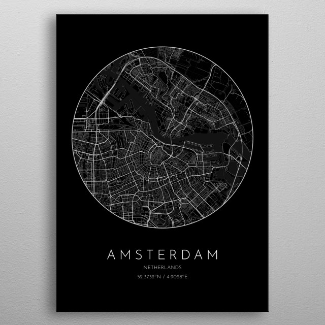Black version of minimalistic city map of Amsterdam in Netherlands  metal poster