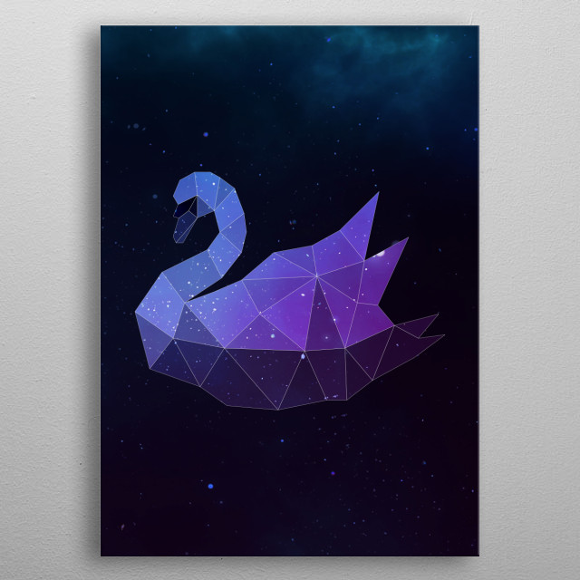 Galaxy swan geometric animal face is a combination of low poly and double exposure art of an animal and galaxy image. metal poster