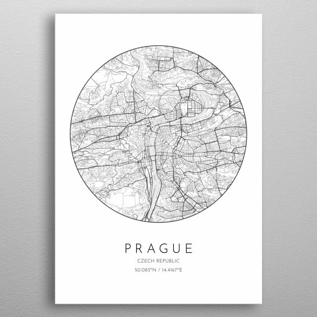 Minimalistic poster with city map of Prague in Czech Republic metal poster