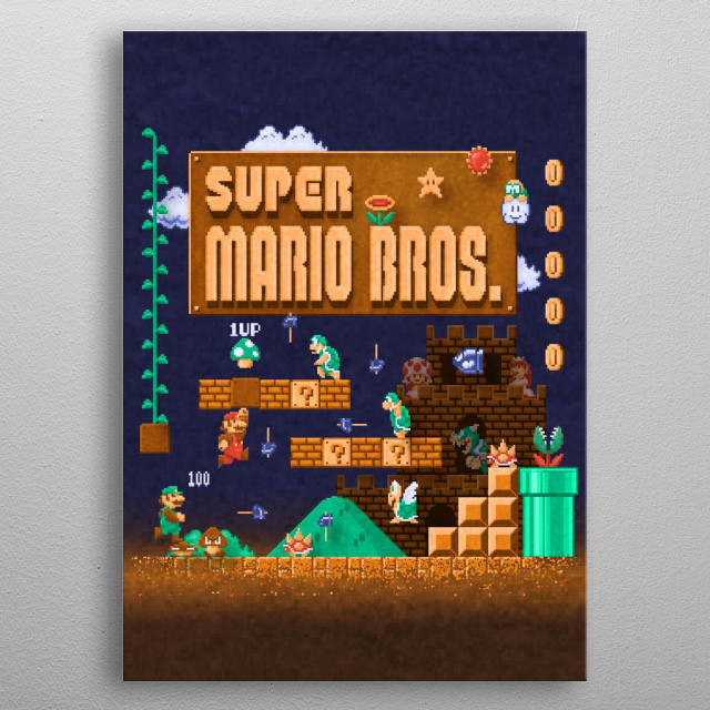 Mario Super Bros by Likelikes metal poster