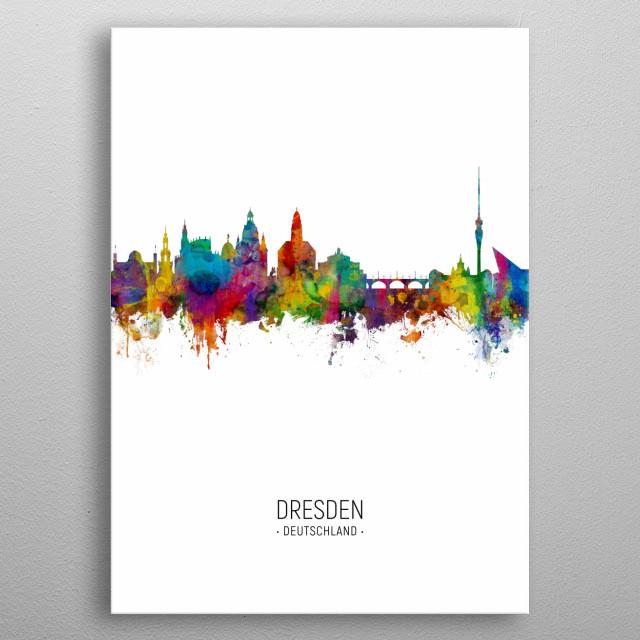 Watercolor art print of the skyline of Dresden, Germany  metal poster