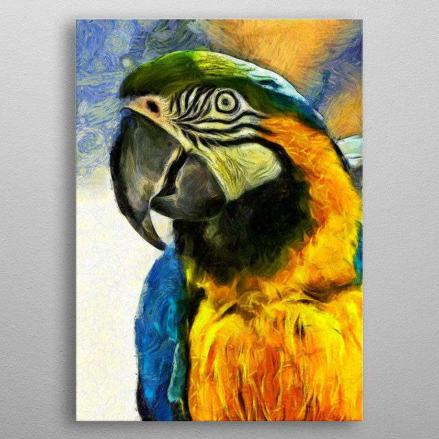 Digital painting of a bright and vivid parrot hamming it up. metal poster