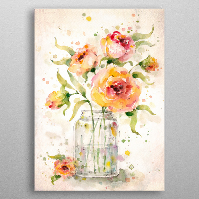 a water colour painting of a jar full of bright flowers. metal poster