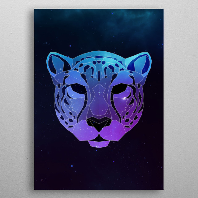 Galaxy cheetah geometric animal face is a combination of low poly and double exposure art of an animal and galaxy image. metal poster