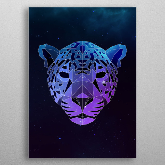 Galaxy jaguar geometric animal face is a combination of low poly and double exposure art of an animal and galaxy image. metal poster
