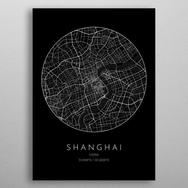 Black version of minimalistic city map of Shanghai in China metal poster