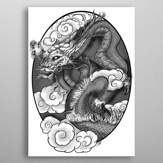 Just a dragon hanging out and waiting to make your wall beautiful metal poster