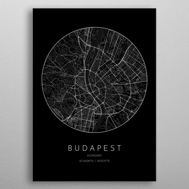 Black version of minimalistic city map of Budapest in Hungary  metal poster
