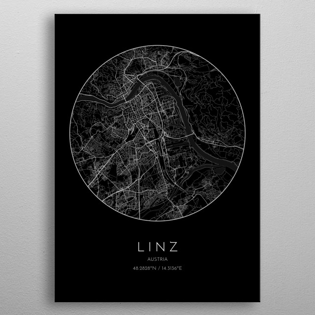 Black version of minimalistic city map of Linz in Austria metal poster