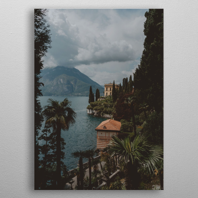 Photography of Como lake lascape, Varenna, Italy metal poster