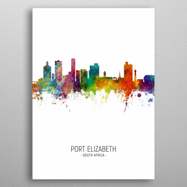 Watercolor art print of the skyline of Port Elizabeth, South Africa metal poster