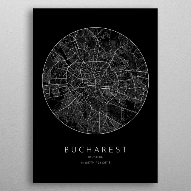 Black version of minimalistic city map of Bucharest in Romania  metal poster