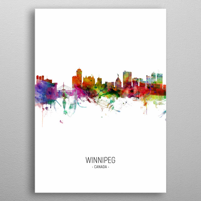 Watercolor art print of the skyline of the city of Winnipeg, Manitoba, Canada metal poster