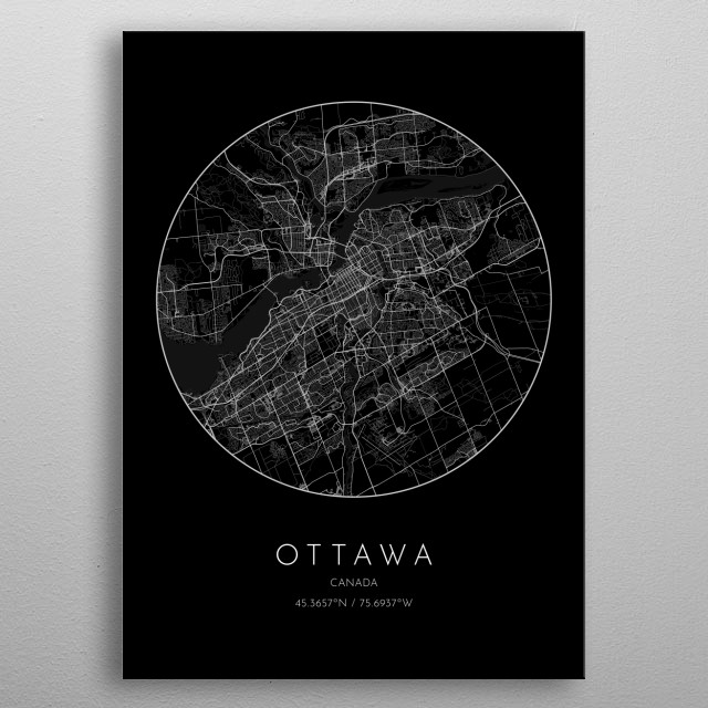 Black version of minimalistic city map of Ottawa in Canada  metal poster