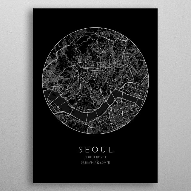 Black version of minimalistic city map of Seoul in South Korea  metal poster