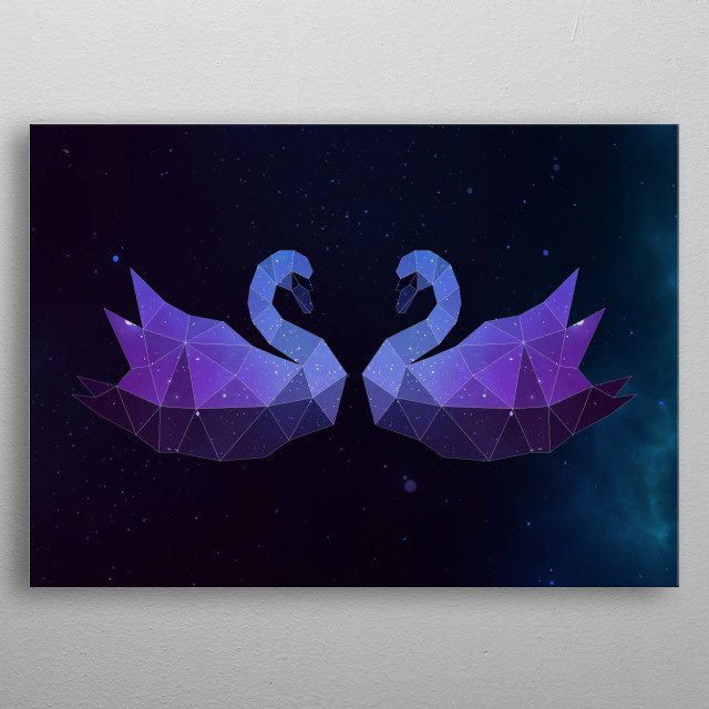 Galaxy swan lovers geometric animal face is a combination of low poly and double exposure art of an animal and galaxy image. metal poster