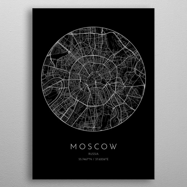 Black version of minimalistic city map of Moscow in Russia  metal poster