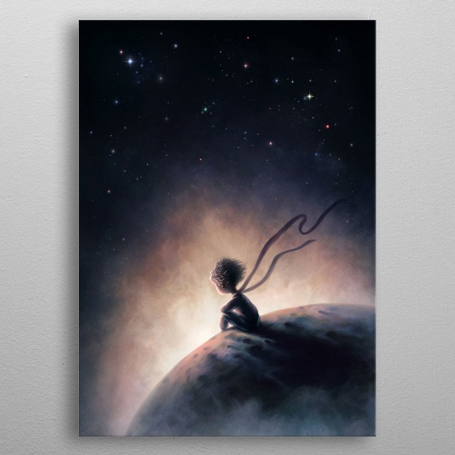 """Illustration inspired by  Antoine de Saint-Exupéry. book """"The little prince  metal poster"""