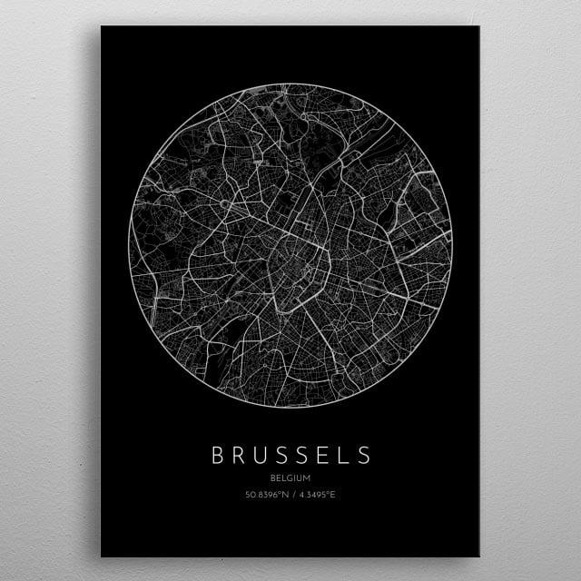 Black version of minimalistic city map of Brussels in Belgium metal poster