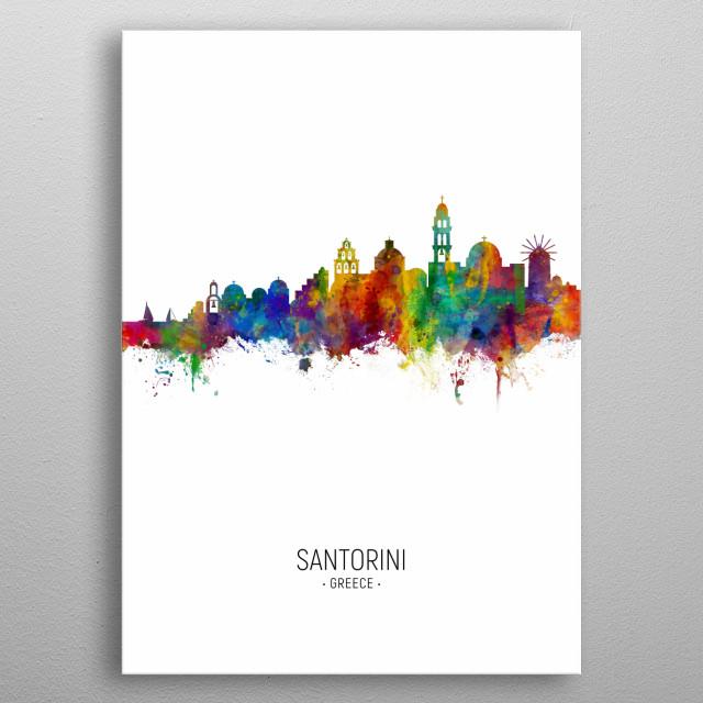 Watercolor art print of the skyline of Santorini metal poster