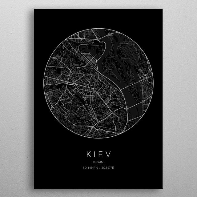 Black version of minimalistic city map of Kiev in Ukraine metal poster