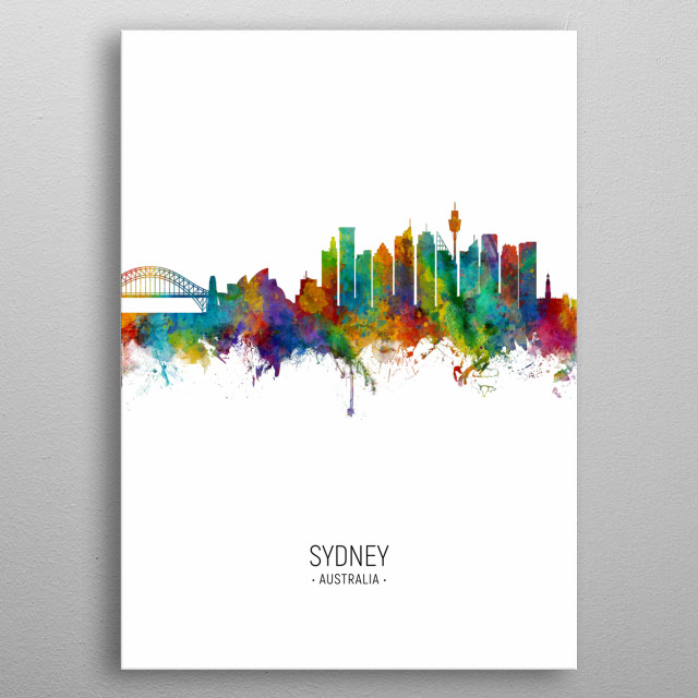 Watercolor art print of the skyline of Sydney, Australia metal poster