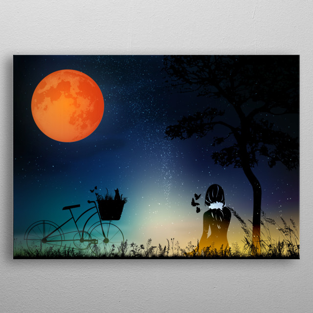 star night with a girl and bicycle  metal poster