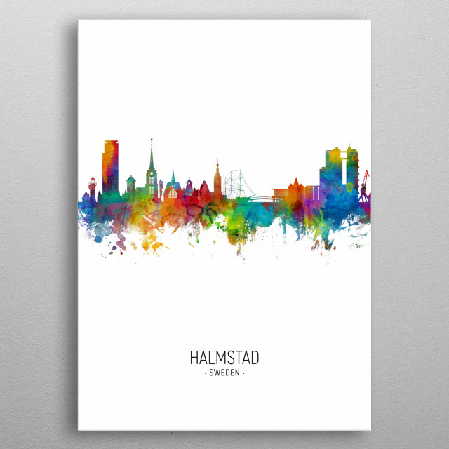 Watercolor art print of the skyline of Halmstad, Sweden (Sverige) metal poster