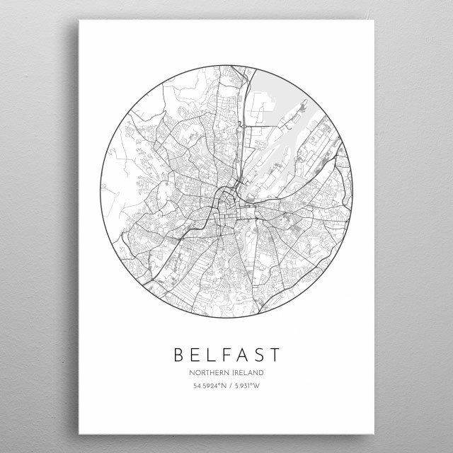 Minimalistic poster with city map of Belfast in Northen Ireland metal poster